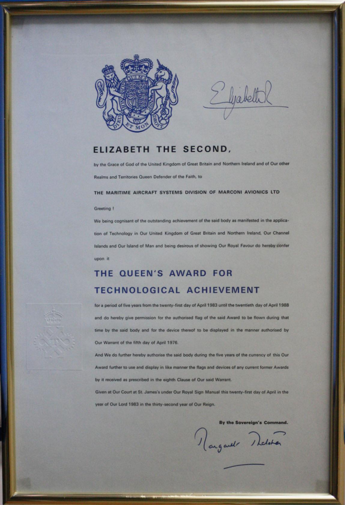 Queen's Award for Technological Achievement 1983