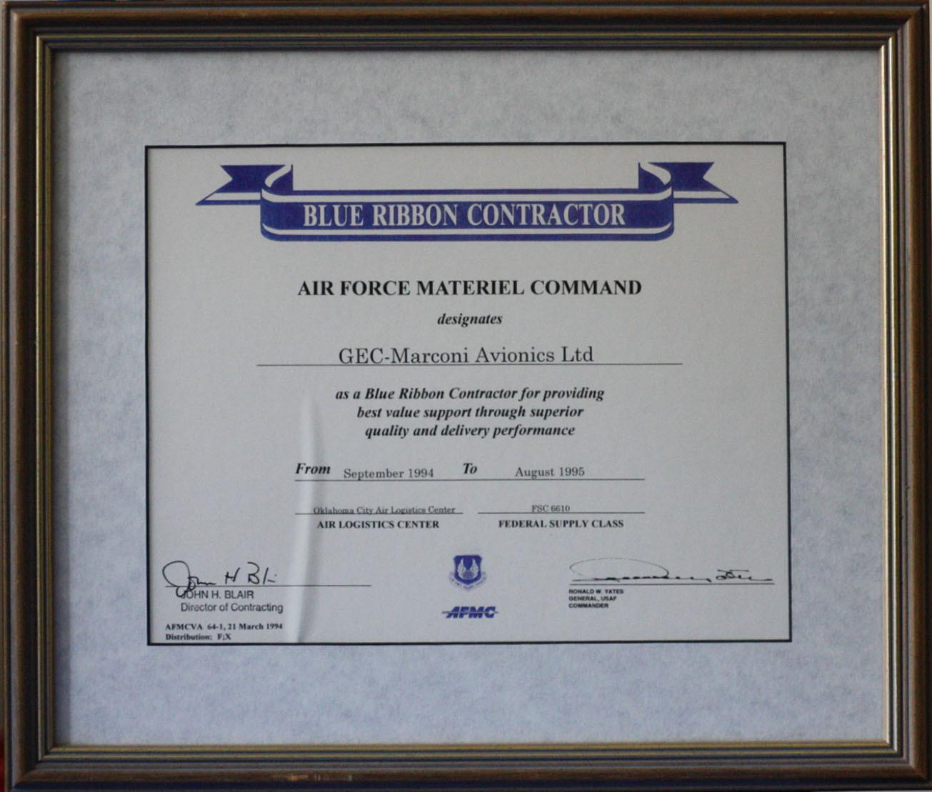 Blue Ribbon Contractor Certificate
