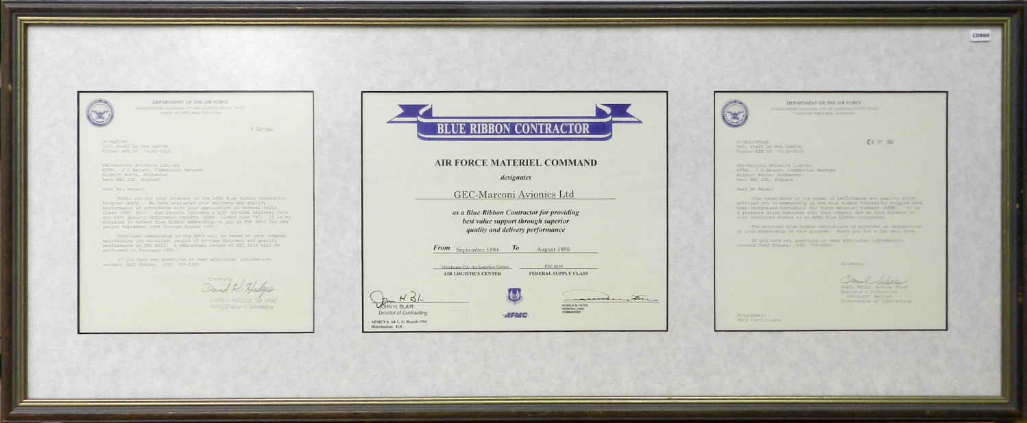 Blue Ribbon Contractor Certificate