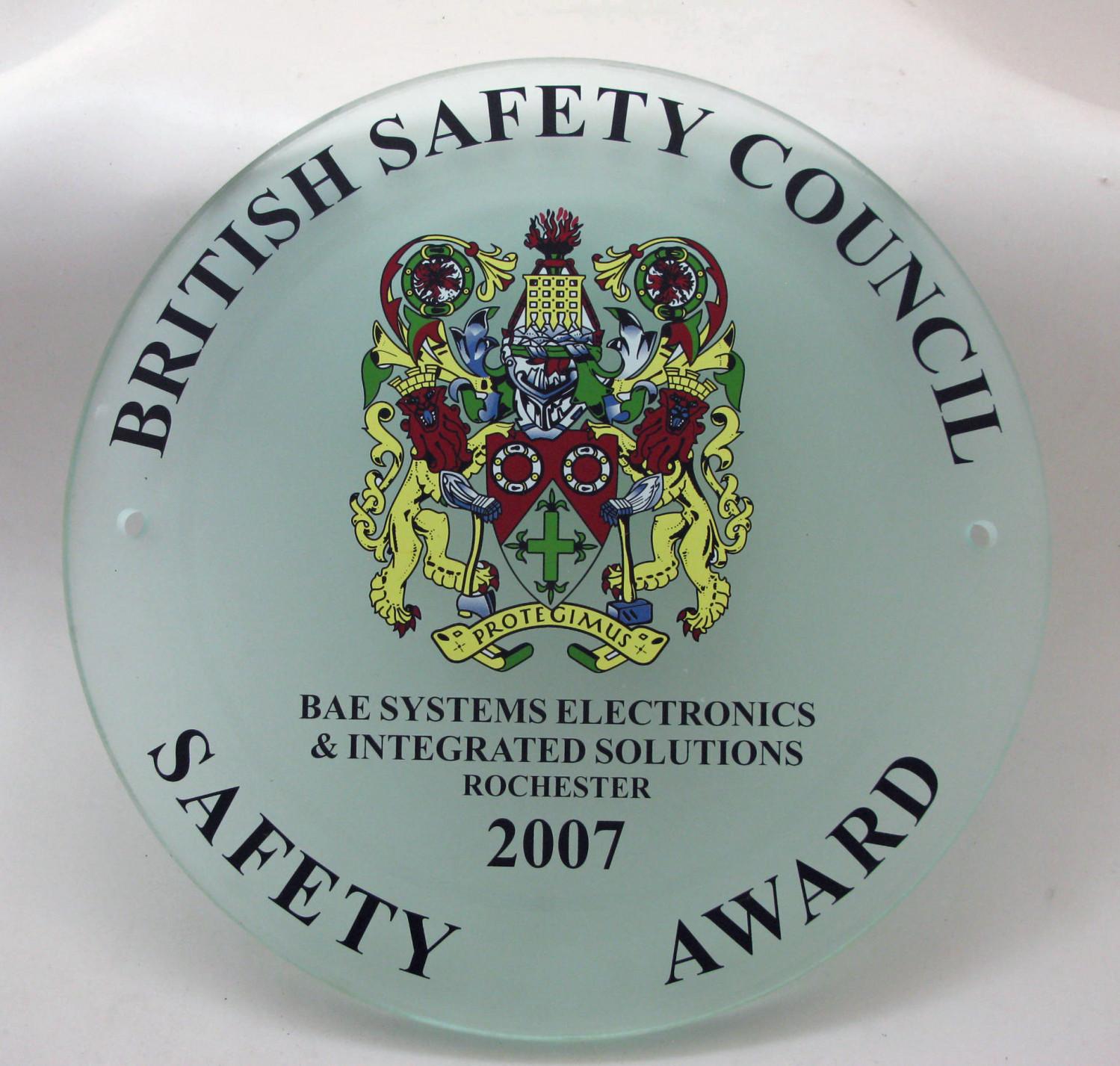 2007 Safety Award Plaque