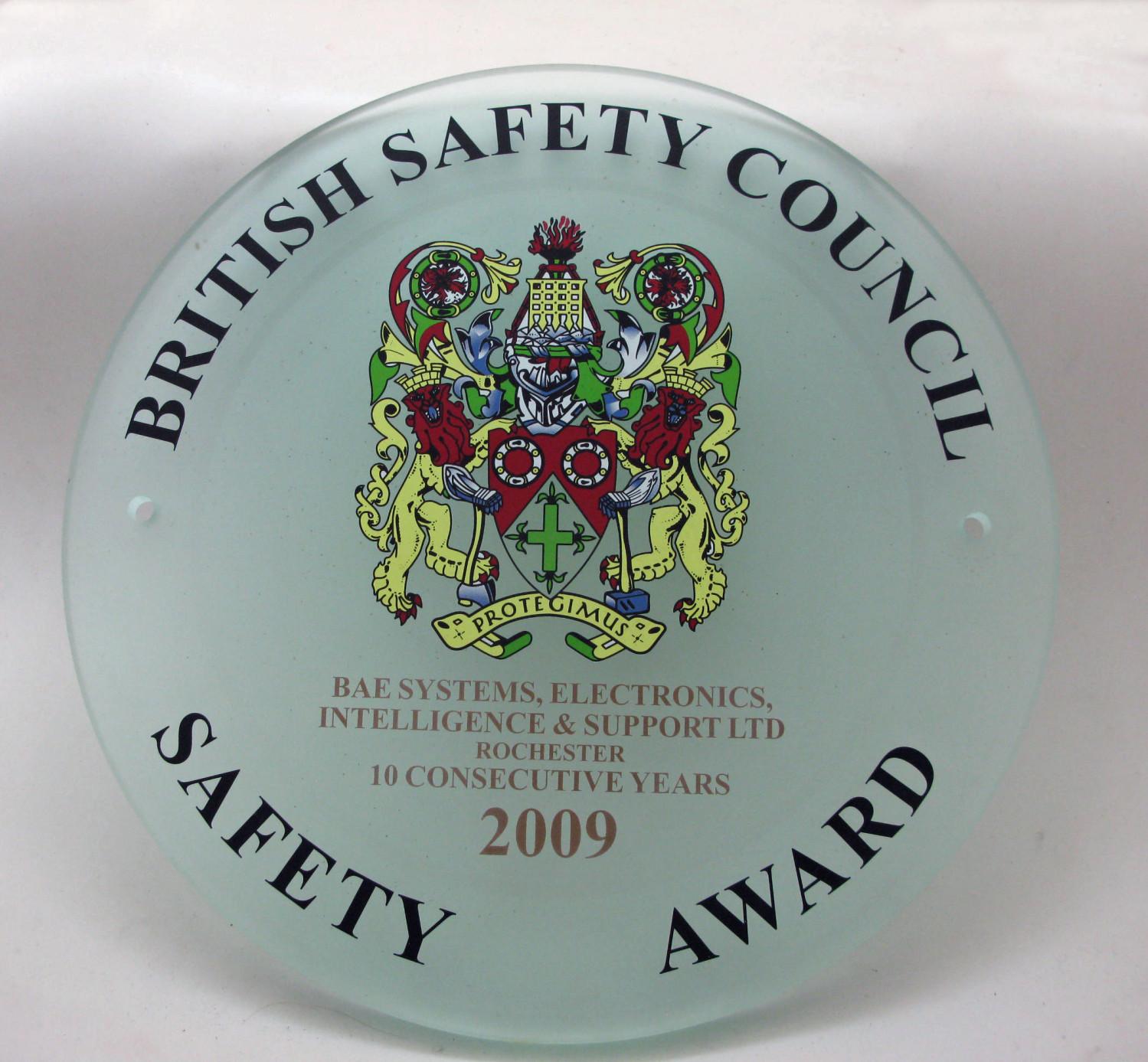 2009 Safety Award Plaque