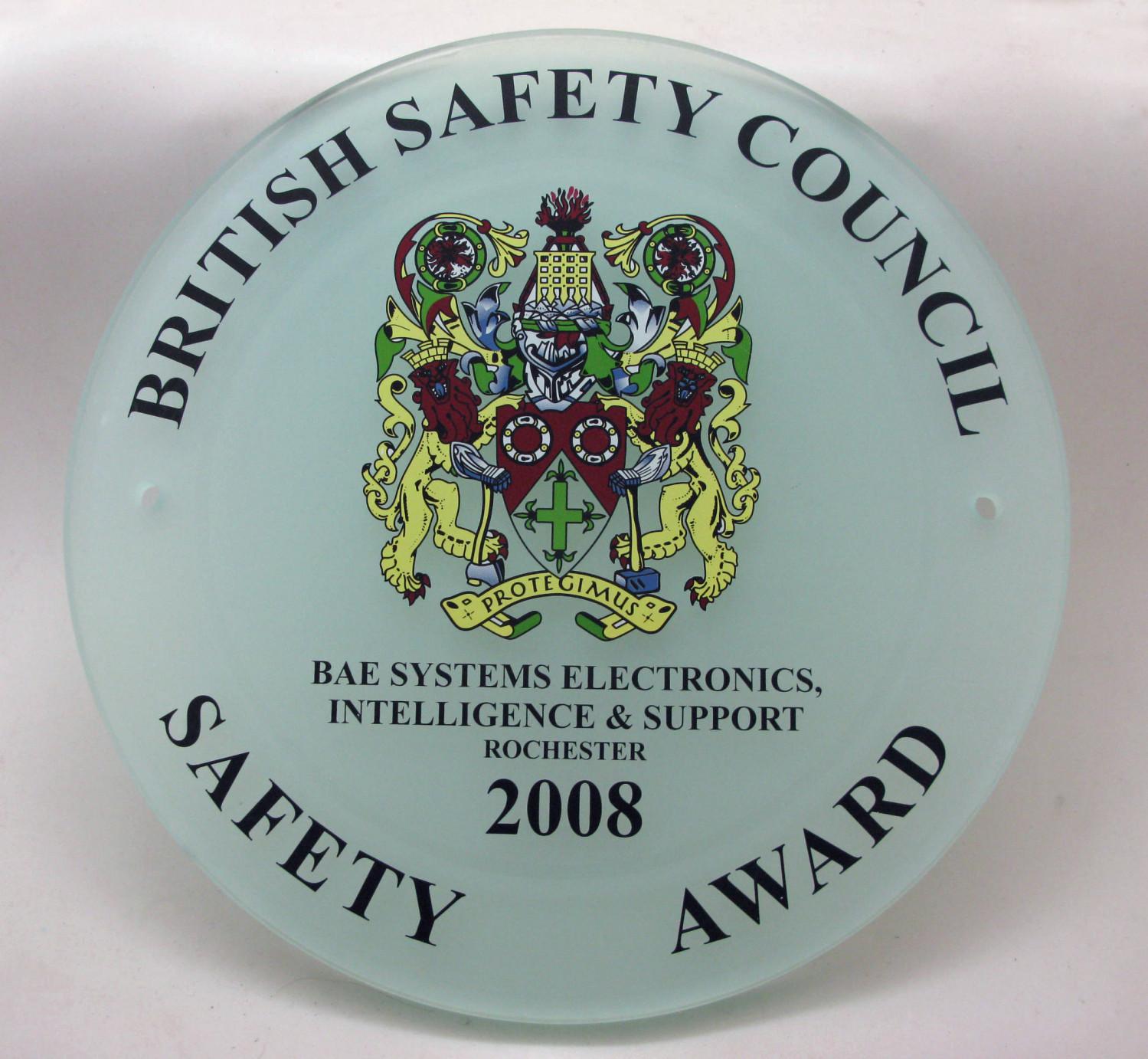 2008 Safety Award Plaque