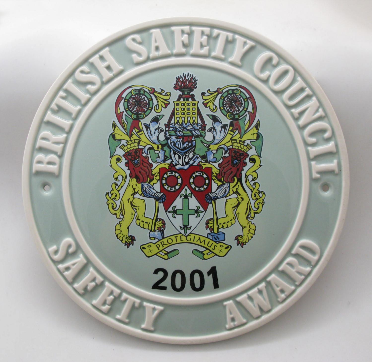 2001 Safety Award Plaque