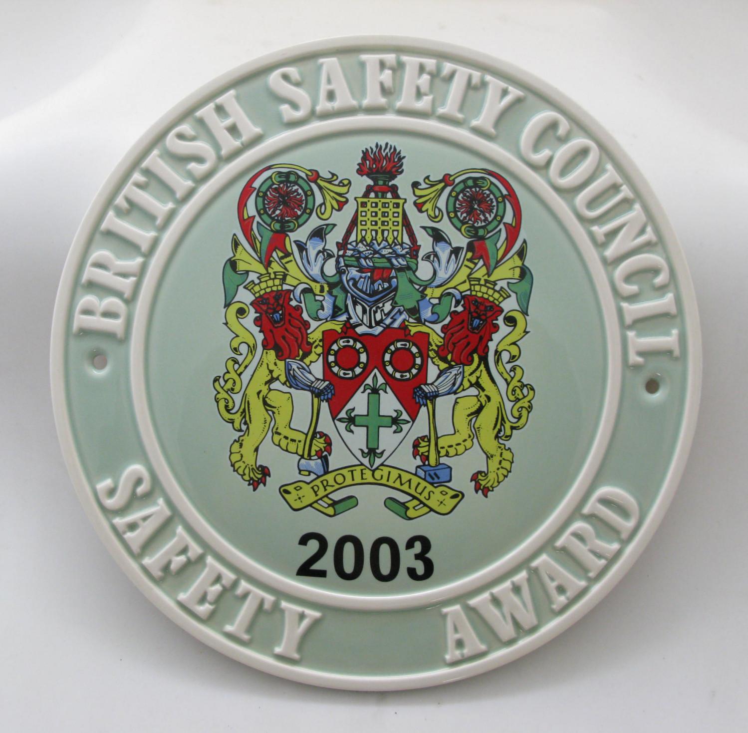 2003 Safety Award Plaque