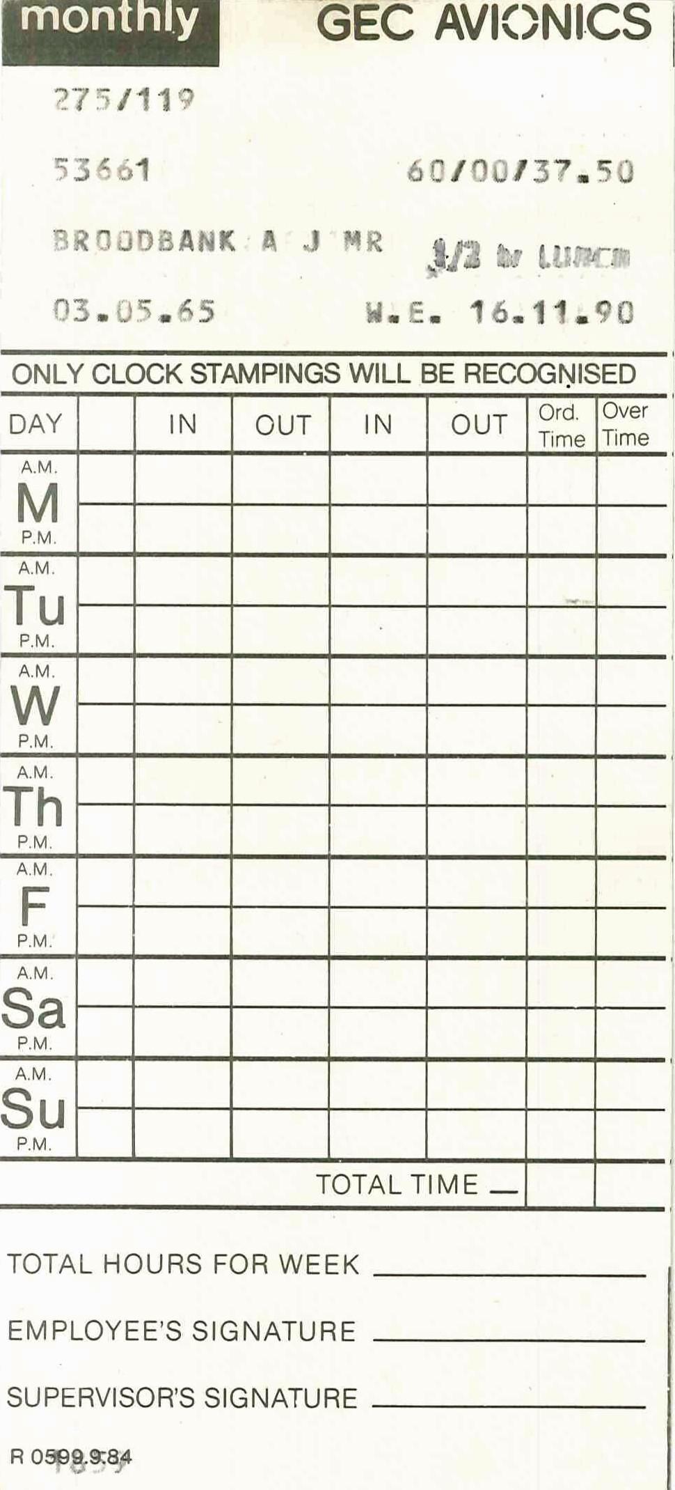 Company Clock Card