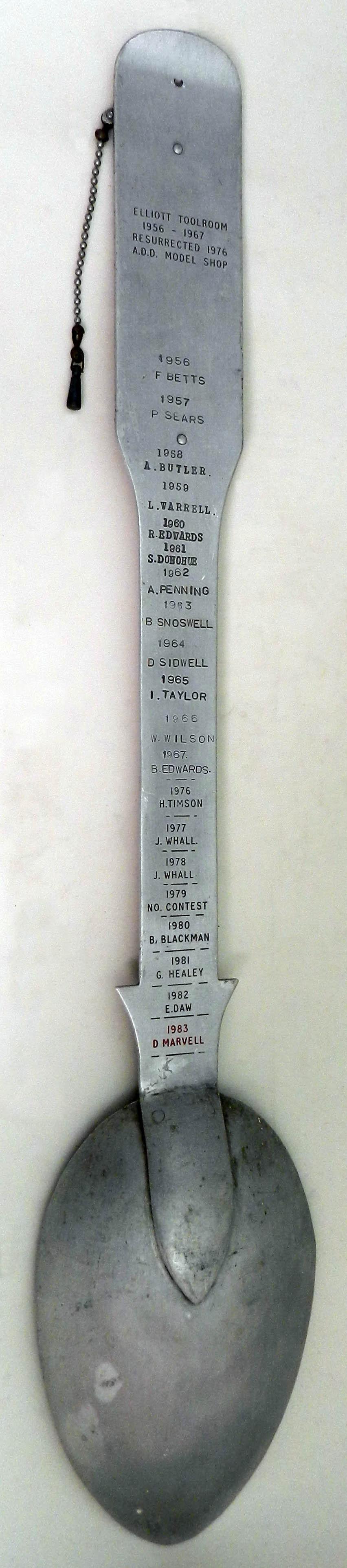 Elliott Toolroom/ADD Model Shop Award, 1956-1983 (tongue in cheek)