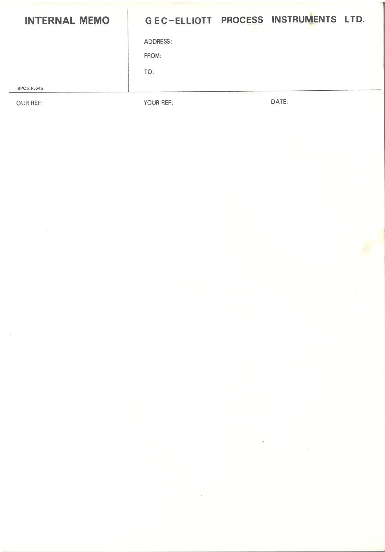 GEC-ELLIOTT PROCESS INSTRUMENTS LTD Internal Memo Pad