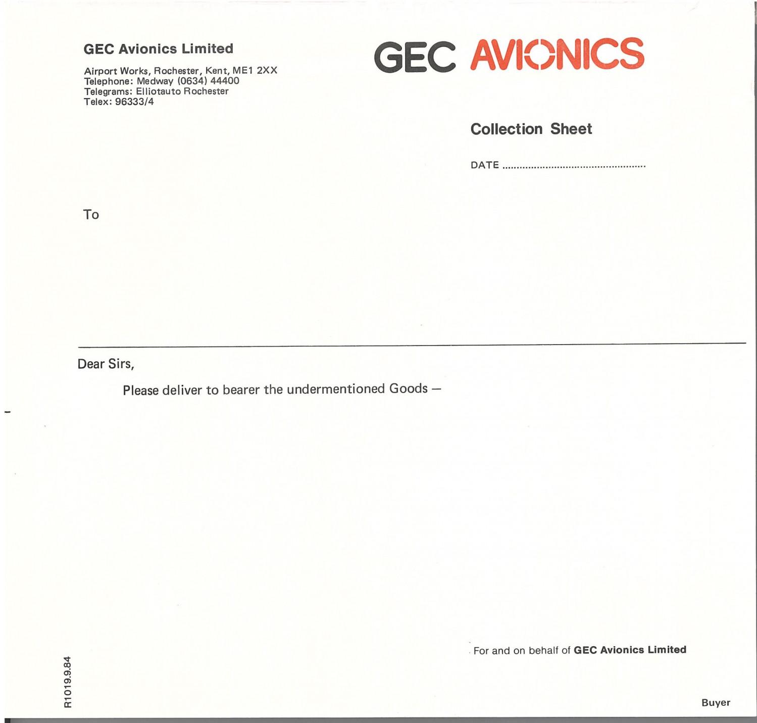 GEC Avionics Collection Sheet