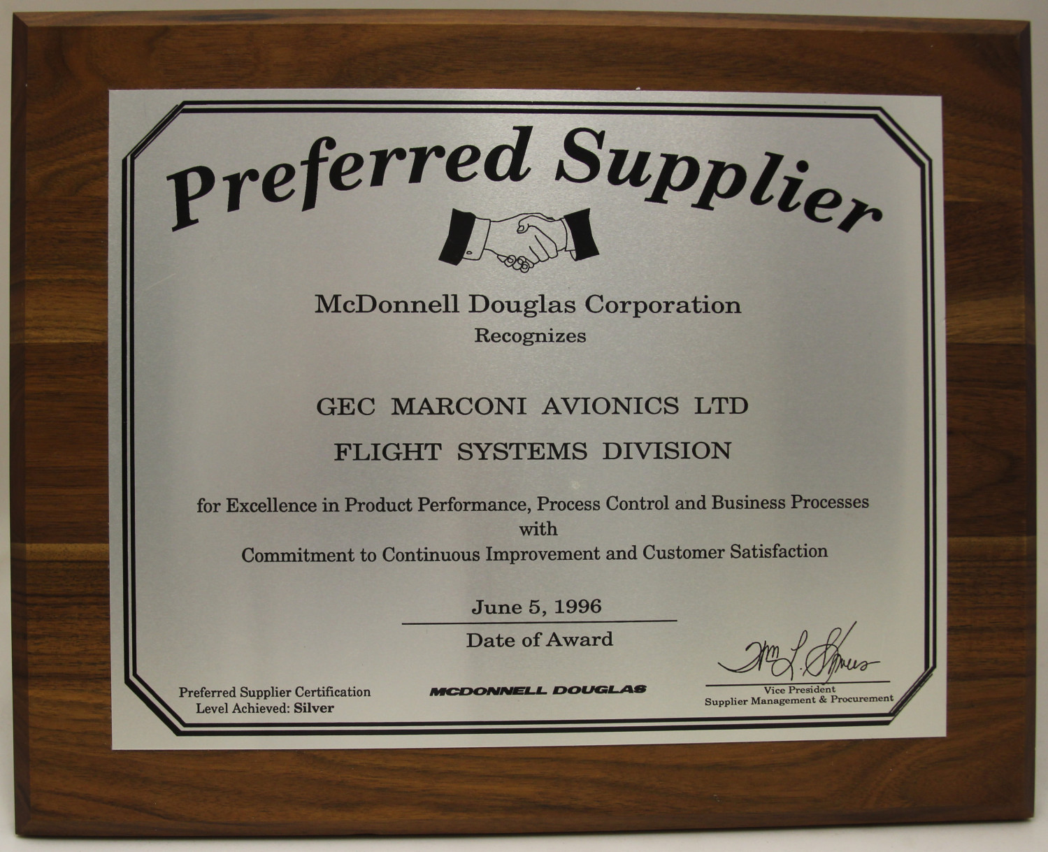 Preferred Supplier Award