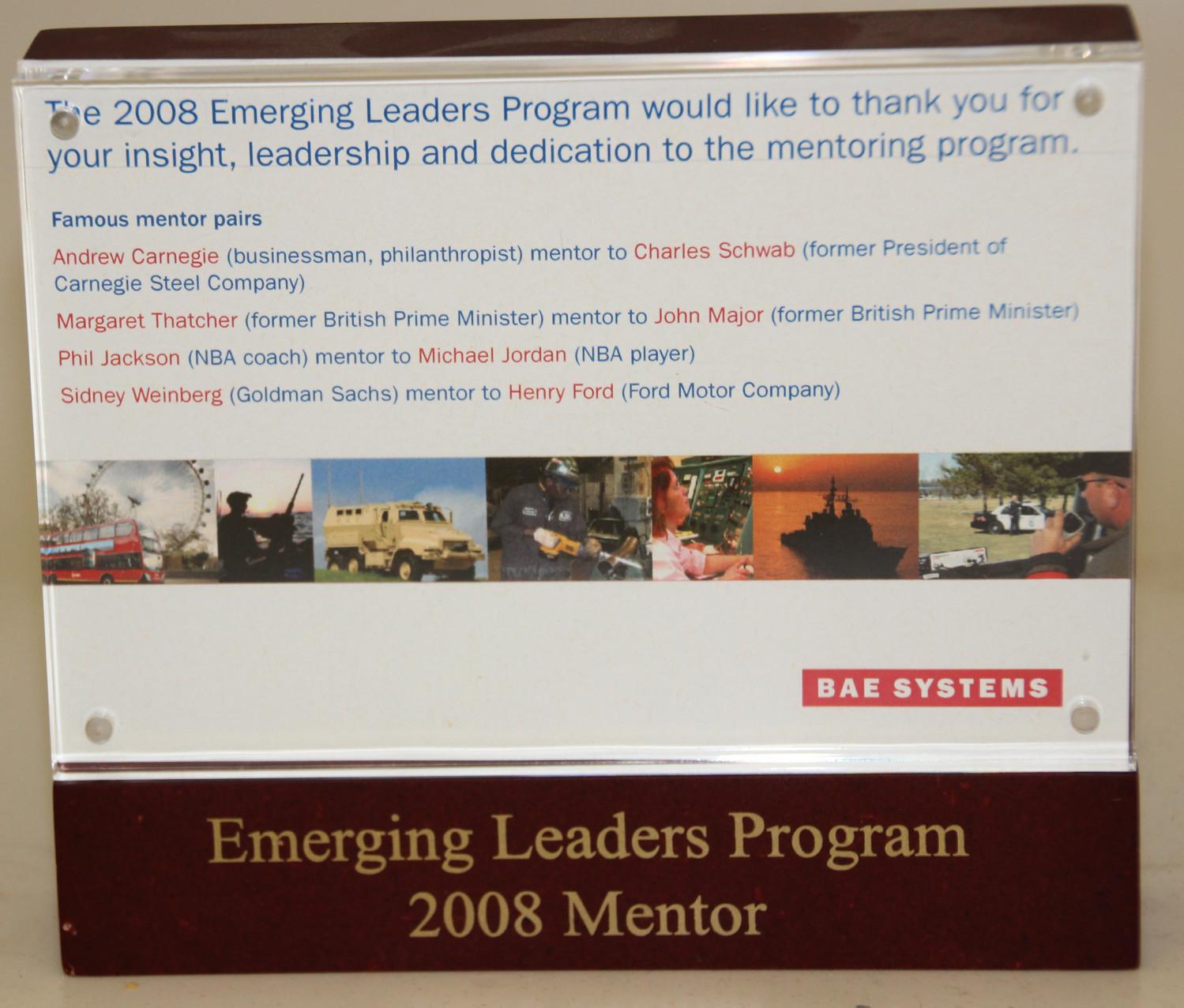 BAE Systems Mentor Program Plaque