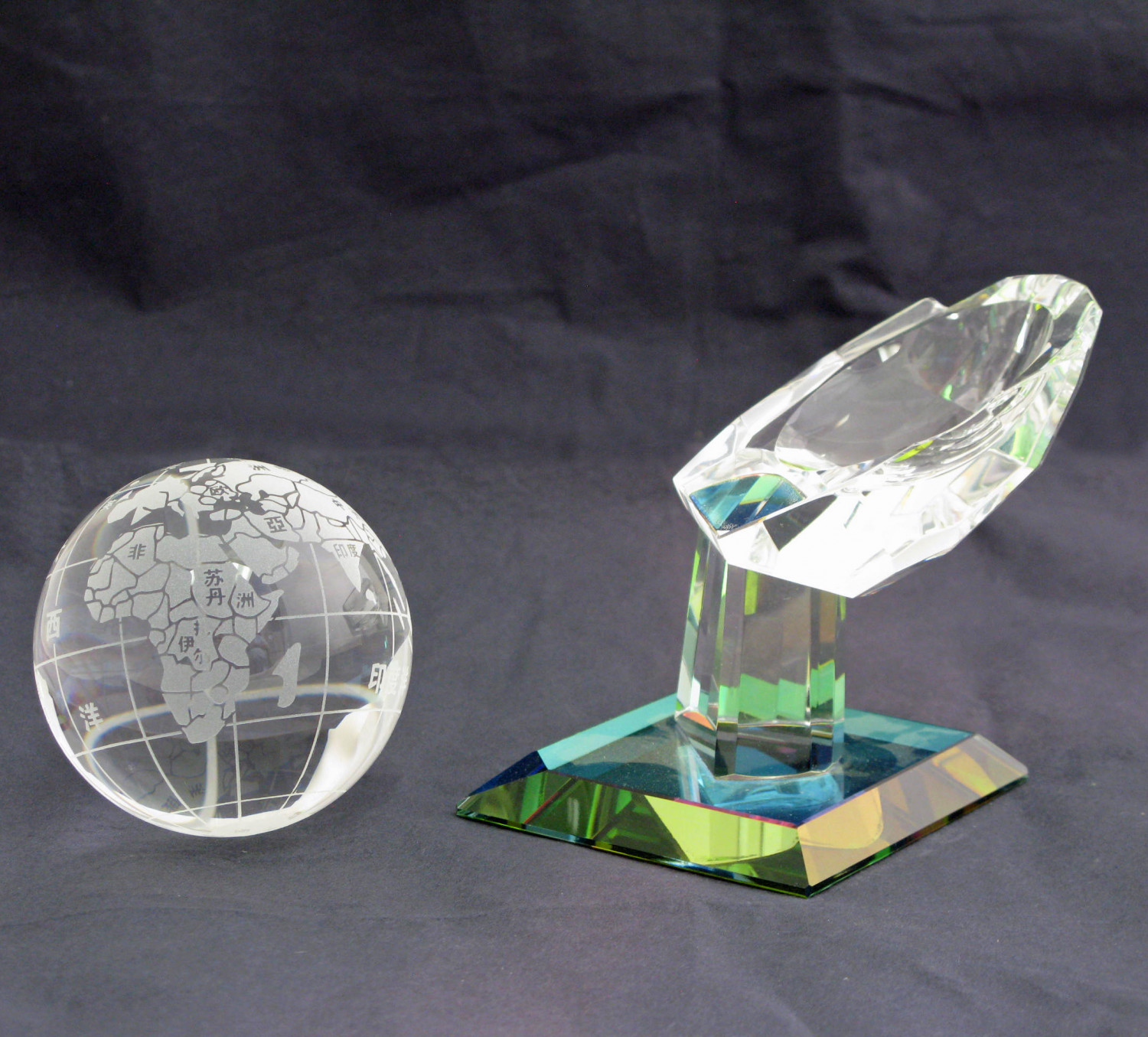 Two Piece Glass Promotional Item Showing World Wide Operations