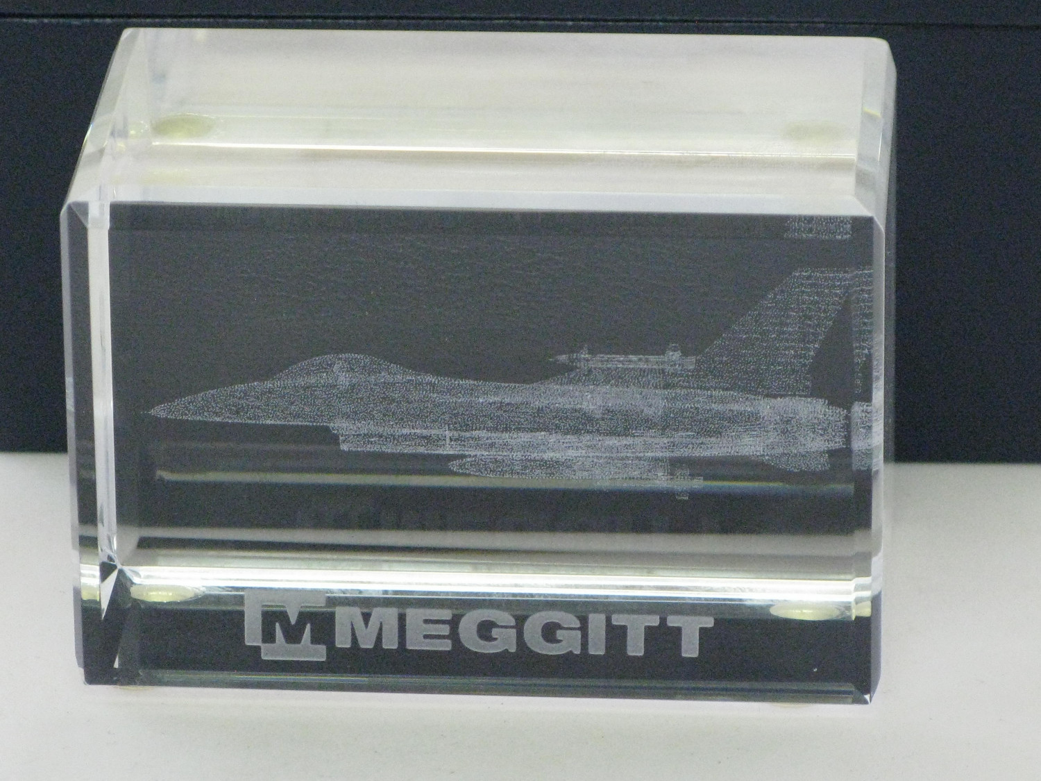 Engraved Glass Promotional item from Meggitt Systems.