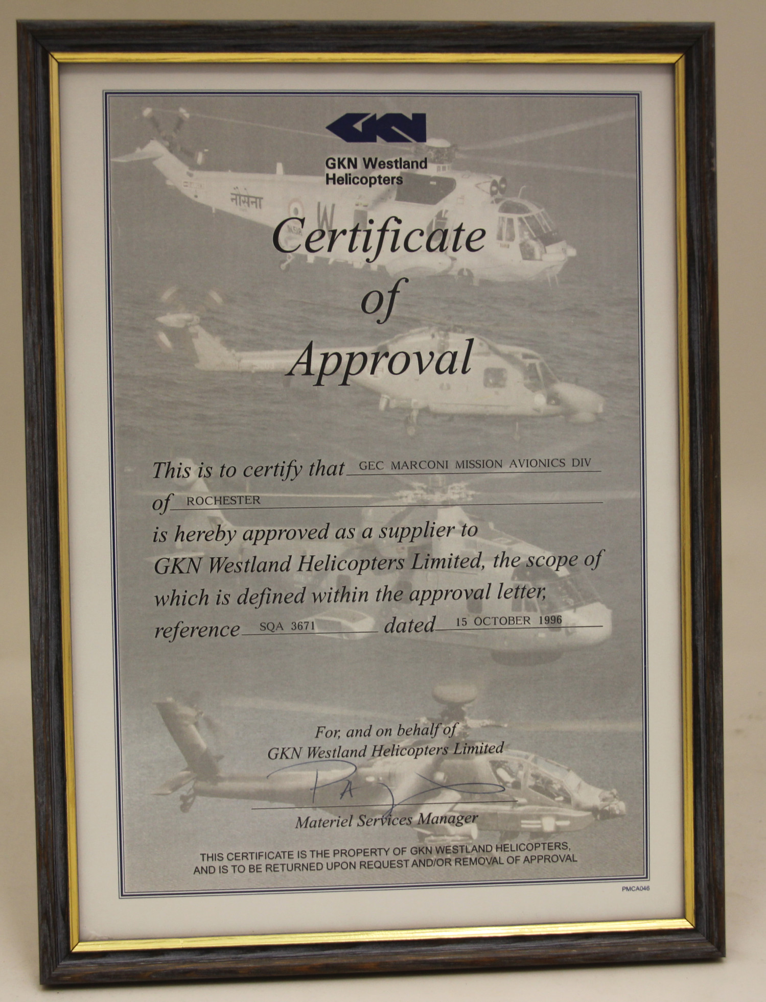 Certificate of Approval from GKN Westland.