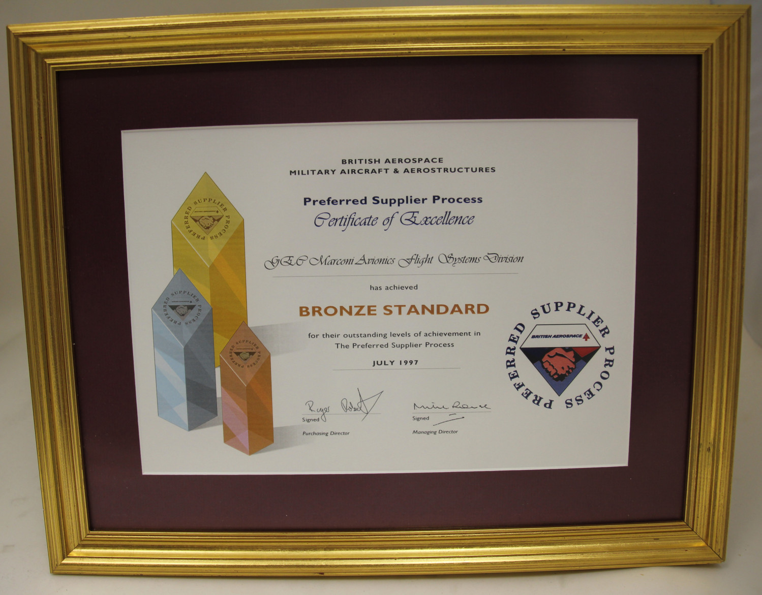 Supply Excellence Programme Certificate.