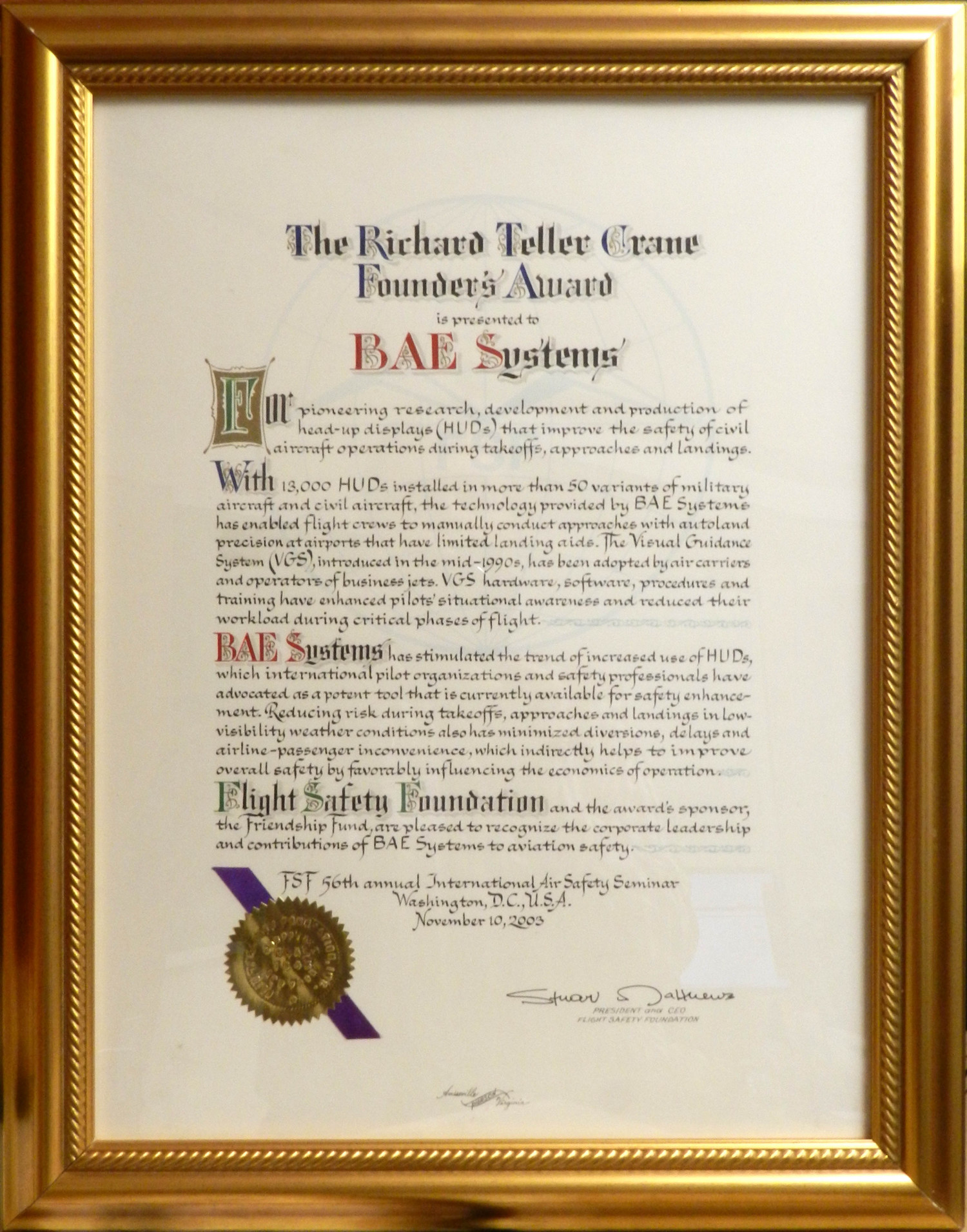 Flight Safety Foundation Award to BAE Systems