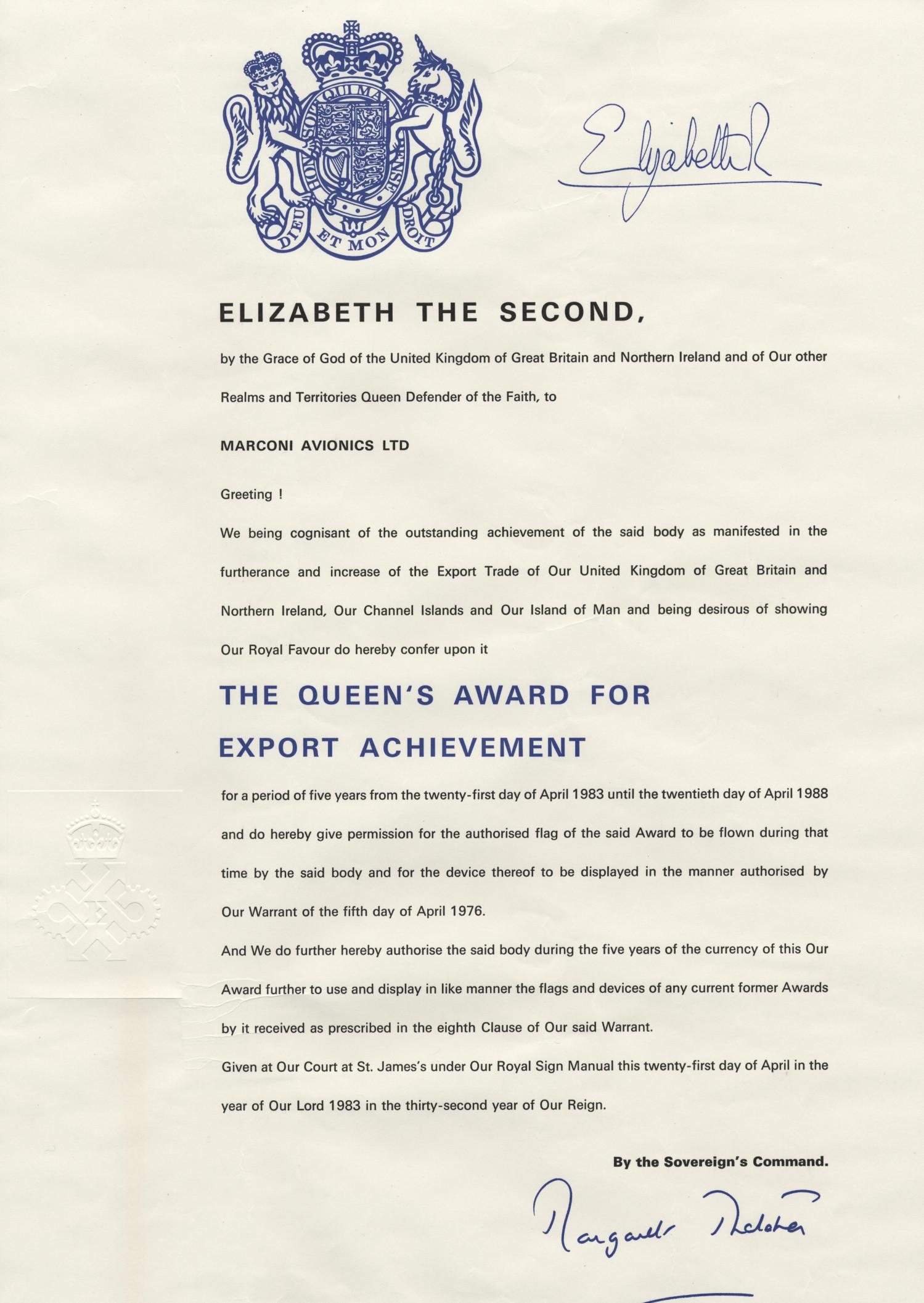 Queen's Award for Export Achievement  1983