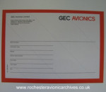 GEC Avionics shipping label