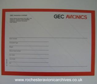 GEC Avionics shipping label