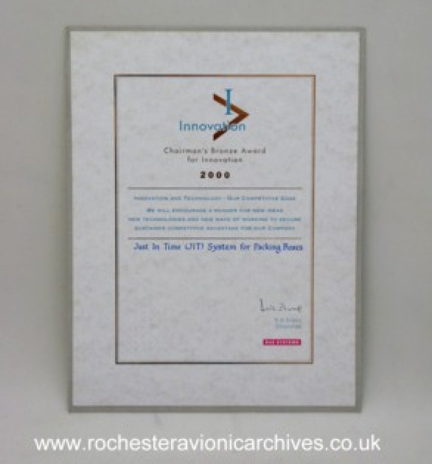 Chairman's Bronze Award for Innovation 2000